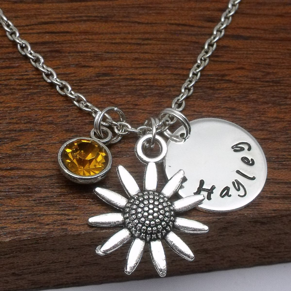 Daisy custom name necklace gift personalised birthstone